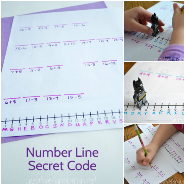 Figure out the message when you solve a number line secret code. This is a fun DIY math game that you kids will love to do!