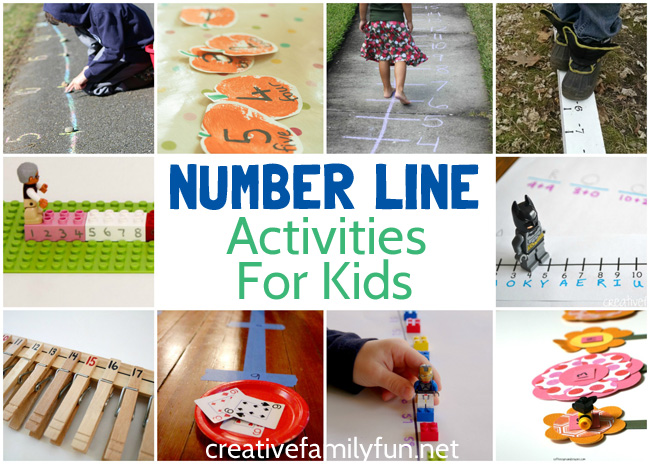 Play and learn with these fun number line activities for kids. You'll move, use your fine motor skills, play math games and have so much fun with these ideas. Learning math can be fun!