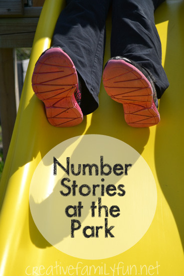 You practice number stories anywhere! Try this fun outdoor number stories activity the next time you go play at the park.