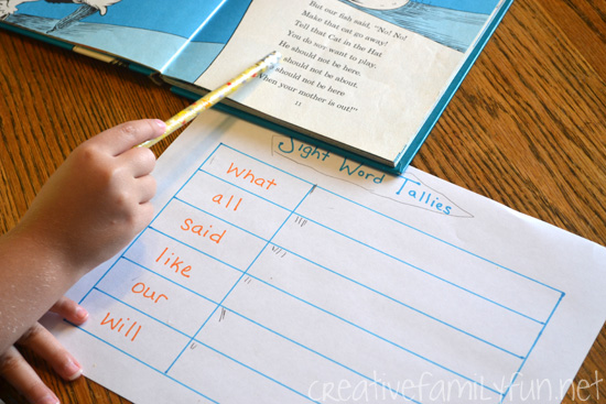 Learn sight words with this fun reading game that adds a little math in with your reading practice. Sight Word Tallies is easy to set up and fun to play for your beginning readers.