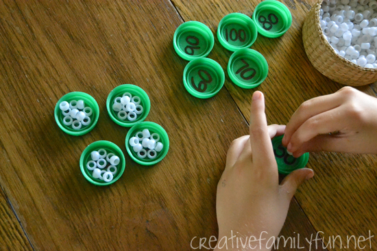 Learn and review skip counting by 10s with this simple fine motor math activity that can easily be turned into a fun busy bag.