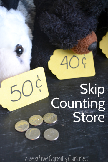 A pretend play store is the perfect way to have fun while you're practicing skip counting by 10. Set up your store, practice math, and have fun.
