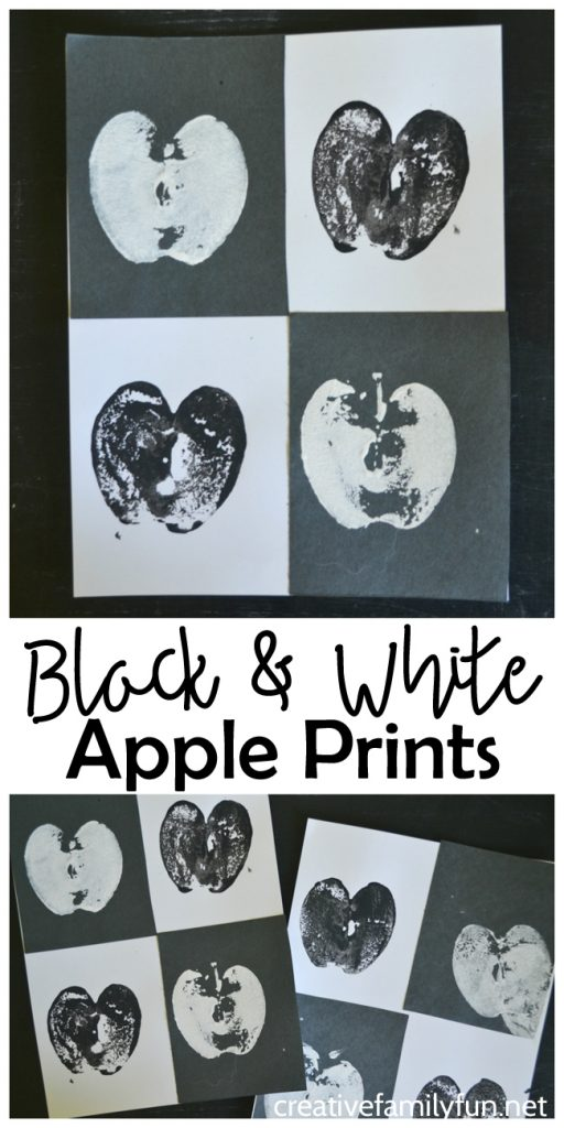 Learn about the art concept of contrast when you create this fun twist on the traditional apple prints kids craft: Black and White Apple Prints.