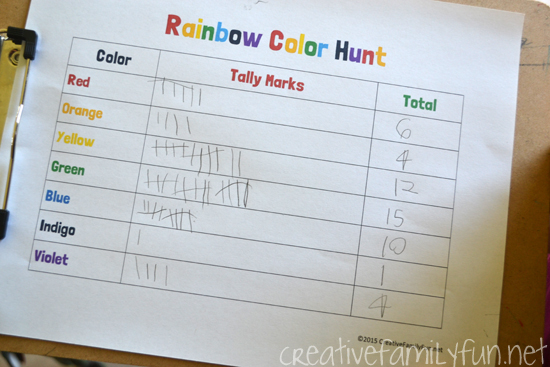 Sneak in math fun while you search for a rainbow of colors. This tally mark scavenger hunt is a great way to practice writing and counting tally marks.