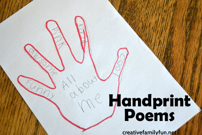 handprint poems are a fun and simple poetry writing project for kids trace your hands