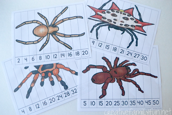 Spider Skip Counting Puzzles