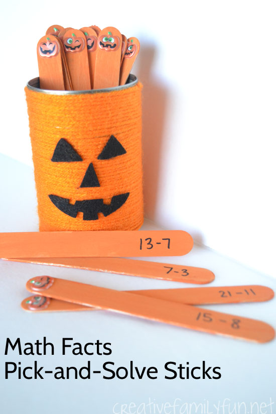 Practice math facts with this fun Halloween addition game, Pumpkin Pick-and-Solve Sticks. It's a fun way to add some holiday fun to your math practice.