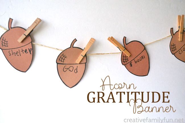 Acorn Gratitude Banner Craft for Kids