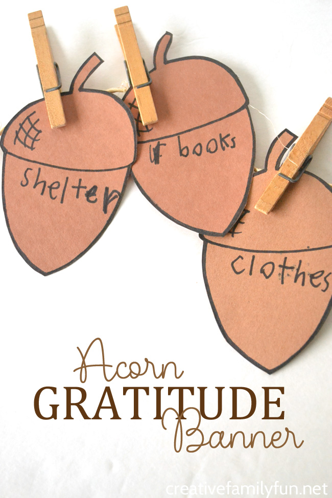 This simple Acorn Gratitude Banner craft for kids is a great Thanksgiving craft to help you reflect on all that you are thankful for.
