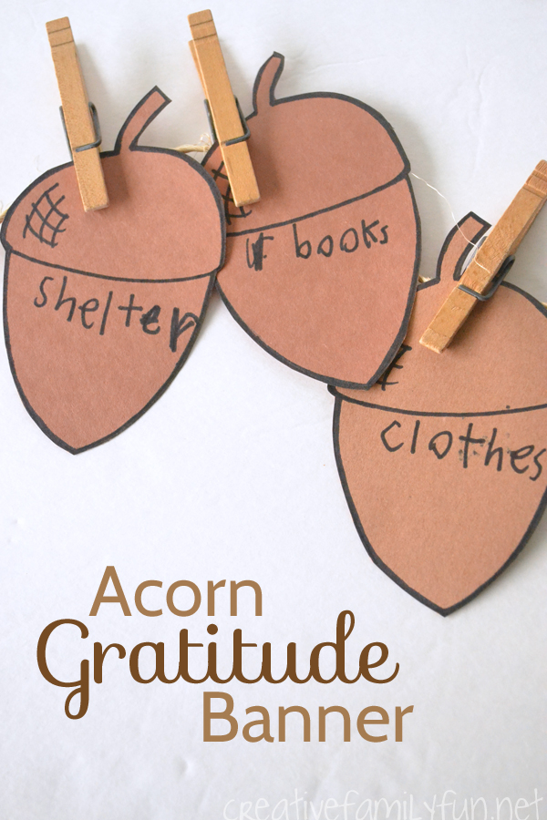 What are you thankful for? Make this simple Acorn Gratitude Banner as a reminder. It's a fun fall and Thanksgiving craft for kids.