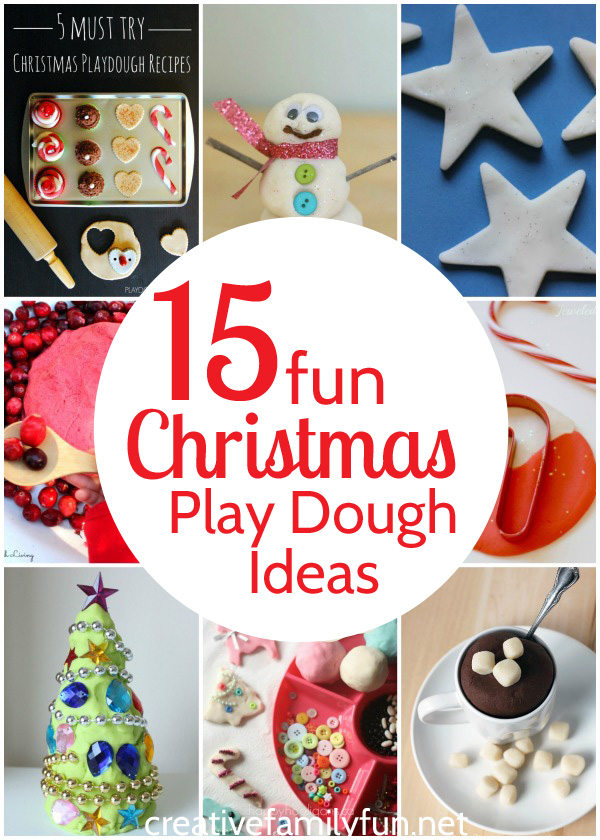 Have some holiday sensory fun with these fun Christmas play dough ideas. You'll enjoy all the scents, colors, and sparkle of the holiday season. #Christmas #sensoryplay #CreativeFamilyFun