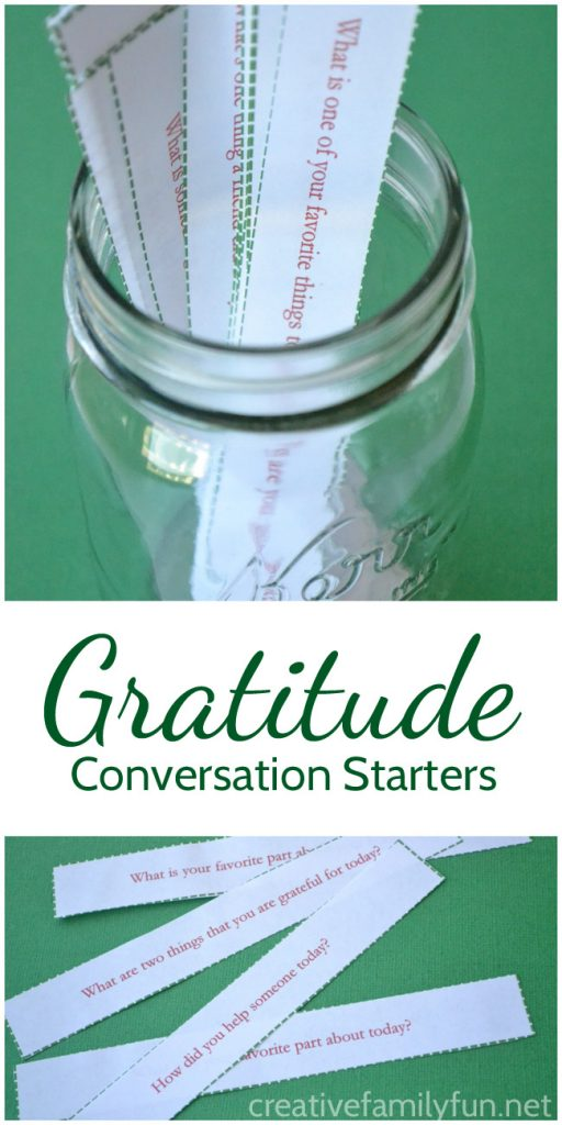 Get your kids started talking about gratitude with these printable Gratitude Conversation Starters that are perfect for family time. #Thanksgiving #gratitude #familytime #CreativeFamilyFun