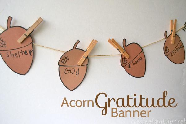 Acorn Gratitude Banner