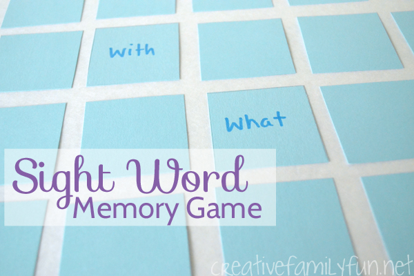 DIY Sight Word Memory Game
