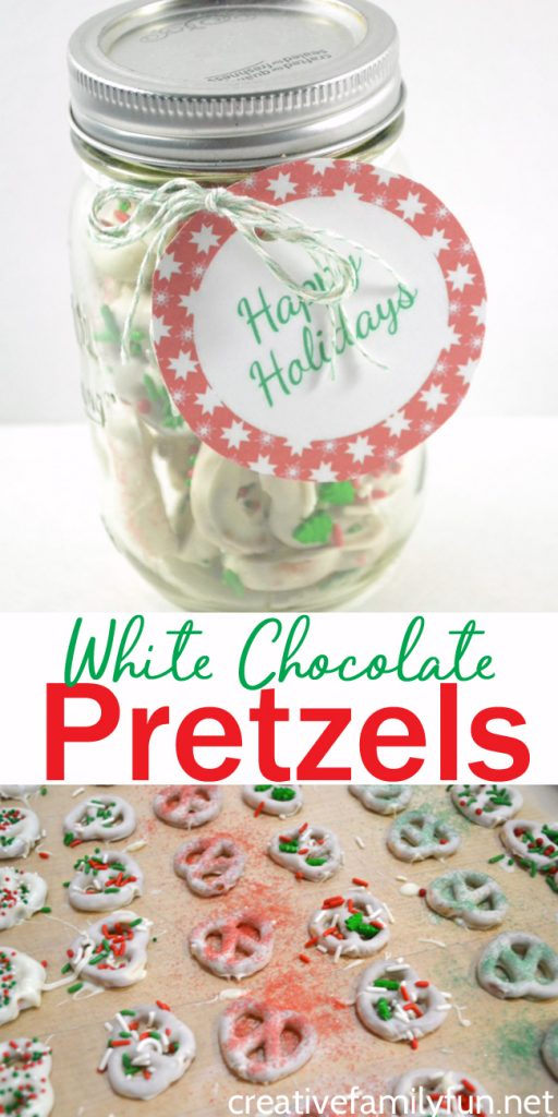 Simple White Chocolate Pretzels are a fun homemade gift to make this year. Just package them up pretty and pair them with a printable gift tag.