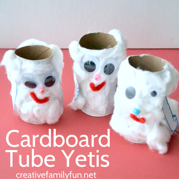 Create a cute cardboard tube yeti craft for kids inspired by the fun children's book The Thing About Yetis by Vin Vogel. Adorable!