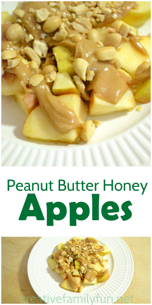 Combine peanut butter and honey to make a delicious sauce for apples. This yummy apple snack is perfect for after school snack time. #snack #kidssnack #applerecipe #CreativeFamilyFun