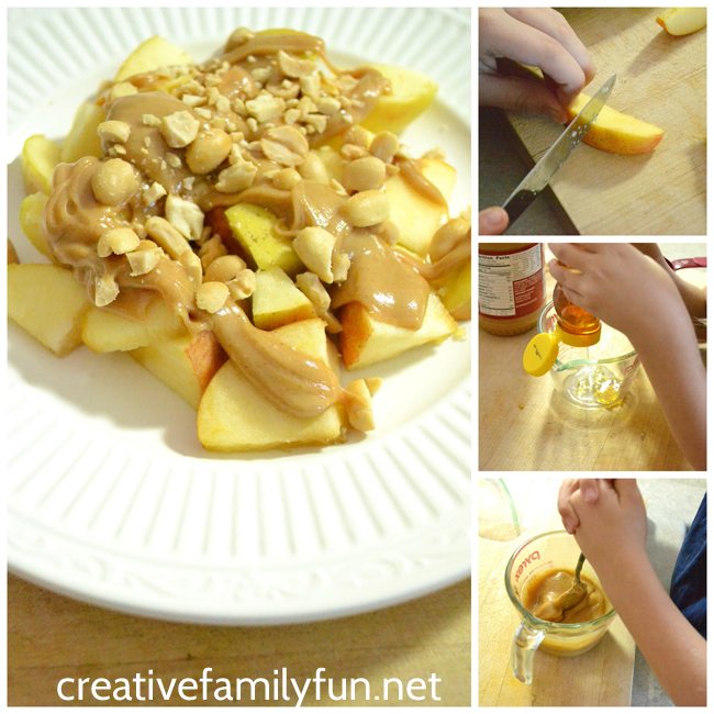 Combine peanut butter and honey to make a delicious sauce for apples. This yummy apple snack is perfect for after school snack time.
