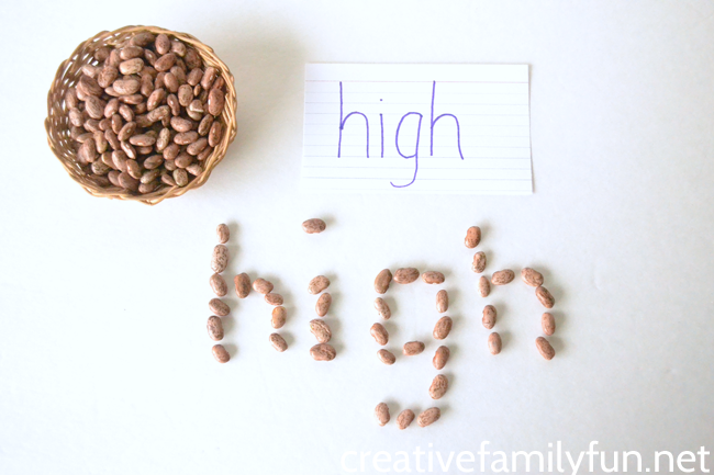 Are you looking for some fun spelling practice ideas? Here's a great idea, make words with dry beans. It's a fun way to practice.