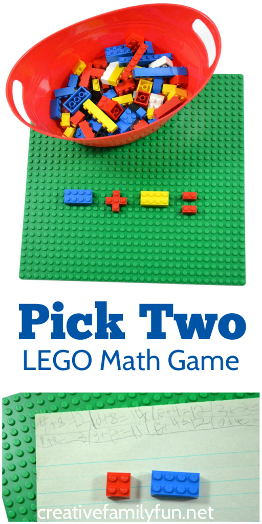 Practice addition, subtraction, or multiplication with this easy LEGO math game for kids. #math #LEGO #education #CreativeFamilyFun