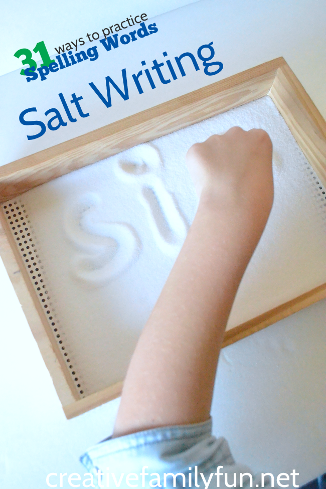 Put down the pencil and practice spelling words in a sensory tray. Salt Tray Spelling Words is a great hands-on way to practice.