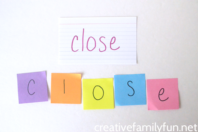If you're looking for a creative way to practice spelling words, you'll want to try this activity. Grab a pack of sticky notes and use them to build words.