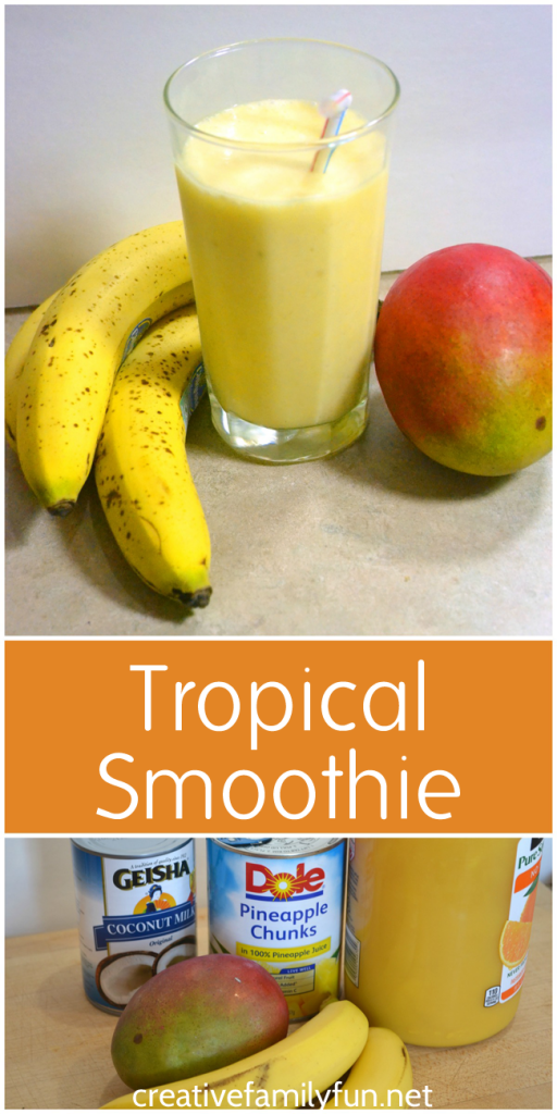 This dairy-free and delicious Tropical Smoothie will whisk you away to the beach. Enjoy it anytime you want a cold and refreshing treat.