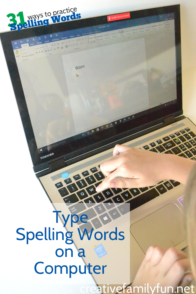 All kids love screen time, don't they? Give them a little extra screen time while they do their homework by letting them type spelling words on a computer.