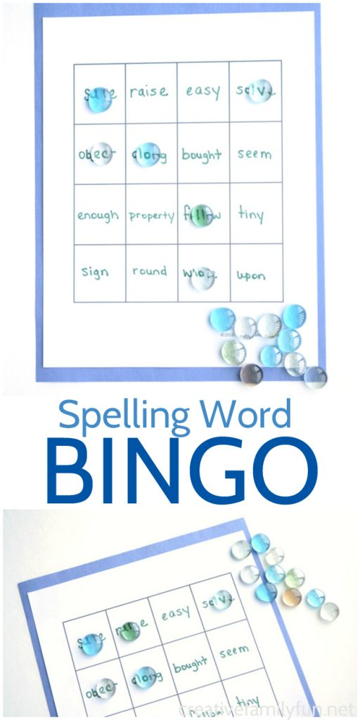 Turn your spelling homework into a fun game when you use this printable template to make your own Spelling Word BINGO game. #spelling #education #CreativeFamilyFun