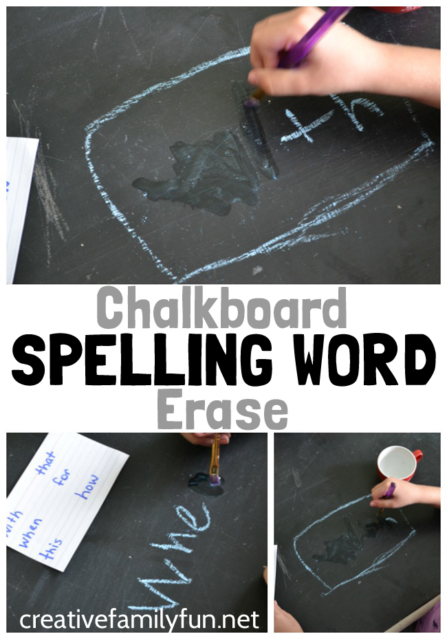 Practice spelling words with this simple idea, Chalkboard Spelling Word Erase. It's so easy to set up and a fun way to learn.