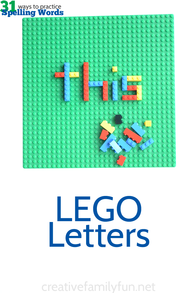 Practice your spelling words by building them with LEGOs