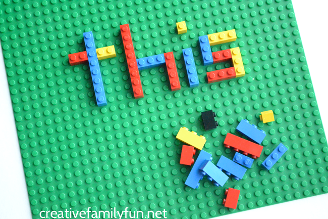 Put down the pencil and practice spelling by creating LEGO spelling words. It's great fun for little LEGO fans and all kids.