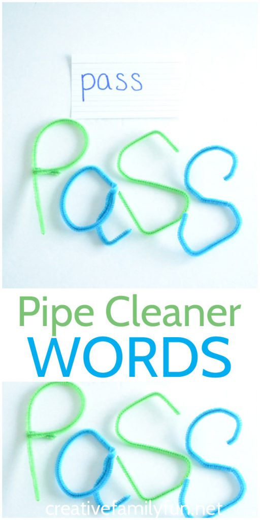 You don't have to write your words to practice spelling, instead your can bend, twist, and curve to create Pipe Cleaner Words. #spelling #education #CreativeFamilyFun