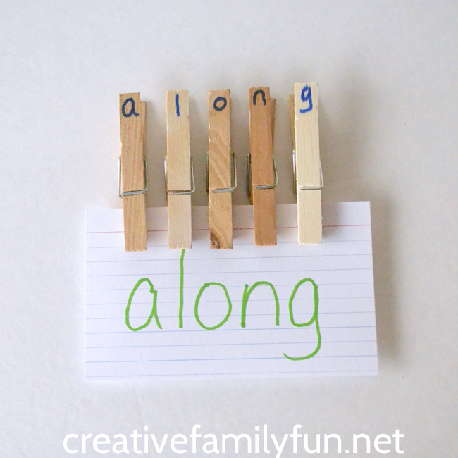 Use a set of alphabet clothespins to practice spelling words, sight words, and word families. They're easy to make and fun to use.