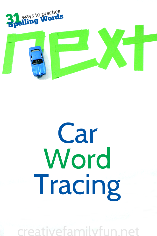 Here's a fun spelling idea: practice with some car spelling word tracing. It's a fun and unique spelling activity for kids.