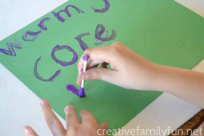 Make spelling fun by putting the pencil aside and grabbing something fun to write with, like this activity to write spelling words with cotton swabs.