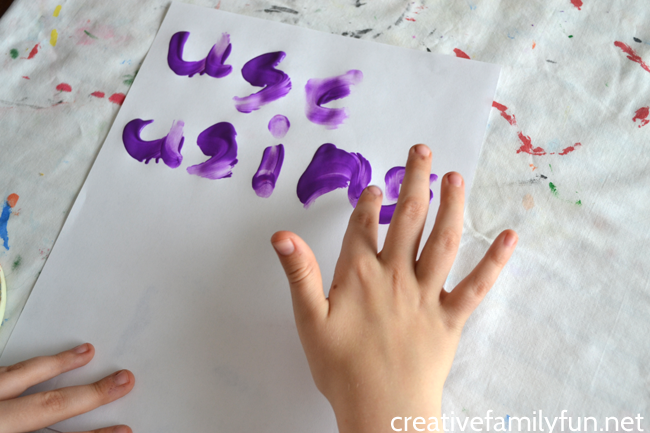 Grab the paint, have fun and get a little messy while you practice spelling words with this fun idea, Finger Painting Spelling Words.