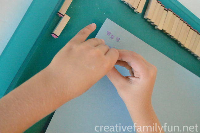Put down the pencil and practice spelling by making your words with letter stamps. It's a simple, quick activity that makes spelling fun.