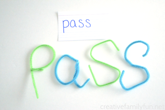 You don't have to write your words to practice spelling, instead your can bend, twist, and curve to create Pipe Cleaner Words.