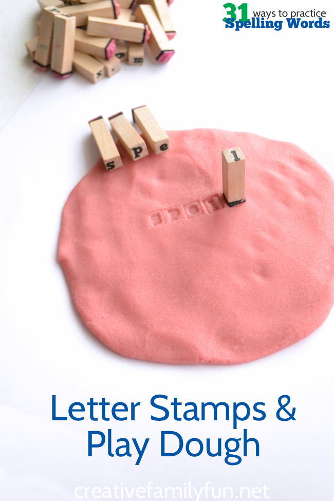 You don't have to pick up a pencil to practice spelling words. Instead practice spelling with letter stamps and play dough. #spelling #education #CreativeFamilyFun