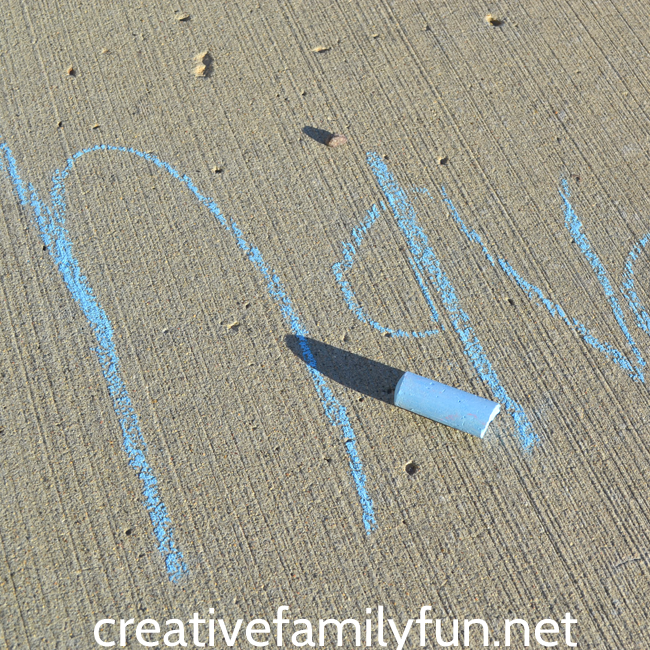 Go outside to practice spelling words with this simple outdoor learning activity: sidewalk chalk spelling words. It's easy and fun!