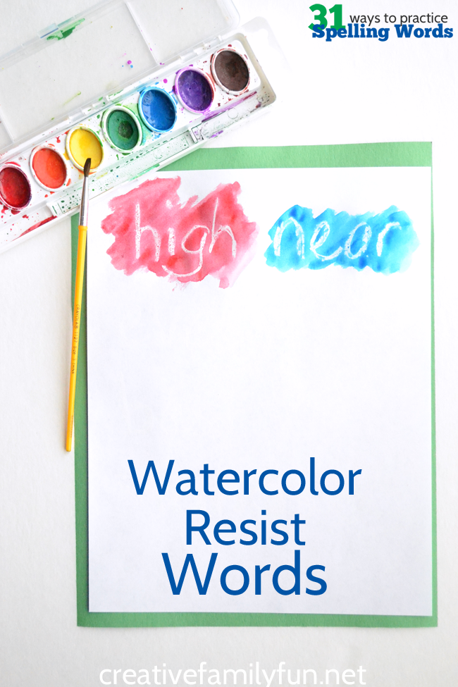 Have fun with this creative spelling practice idea, Watercolor Resist Spelling Words. Make a little art, have fun, and learn your spelling words.