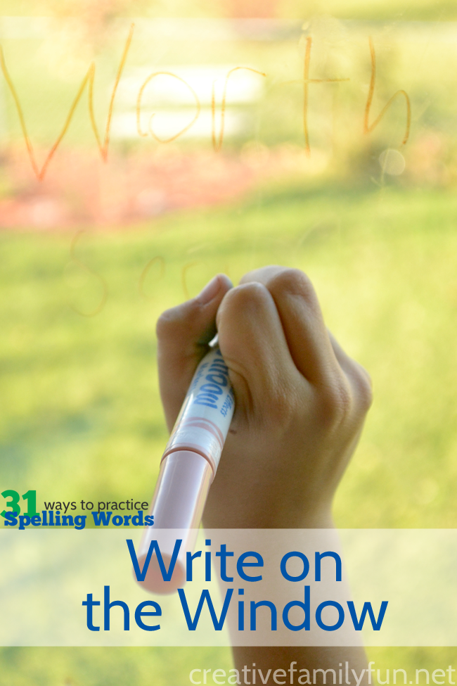 Write spelling words on the window - yes, really! It's a simple and fun spelling word activity that will make your kids eager to practice.