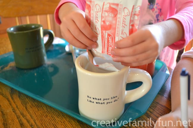 This hot chocolate science experiment is a fun way to learn about how temperature affects the rate at which hot chocolate dissolves.