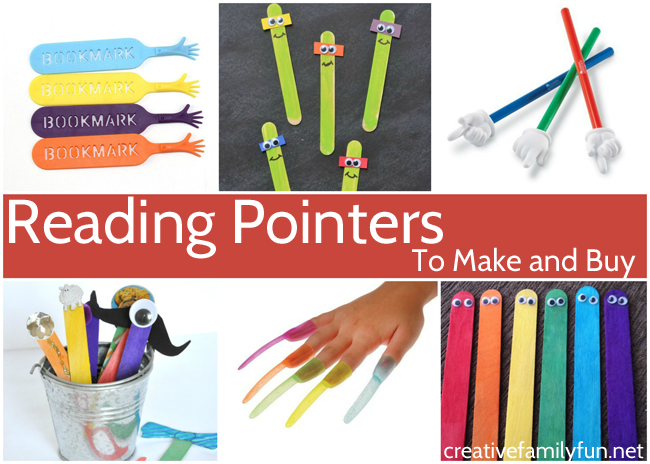These fun reading pointers you can make or buy are all perfect to help your child track the words on the page when they're learning to read.