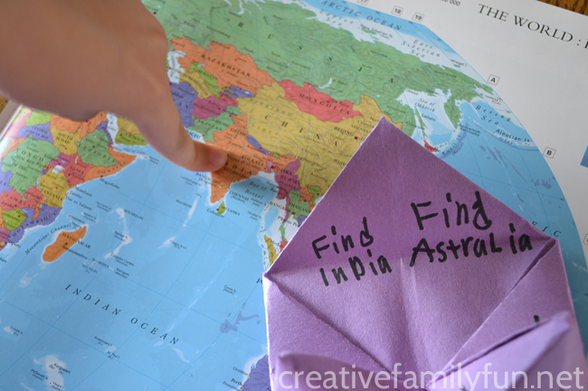 Make Geography Fortune-Tellers, a fun geography activity to help your child learn continents, countries, oceans, US states, or famous cities.