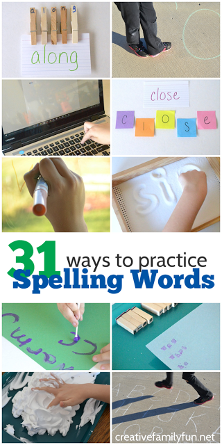Take the boredom out of spelling practice with one of these fun, hands-on ways to practice spelling words. Try a fine motor spelling activity, a gross motor spelling activity, a sensory spelling activity or even an artistic spelling activity. Spelling has never been so much fun! #spelling #education #CreativeFamilyFun