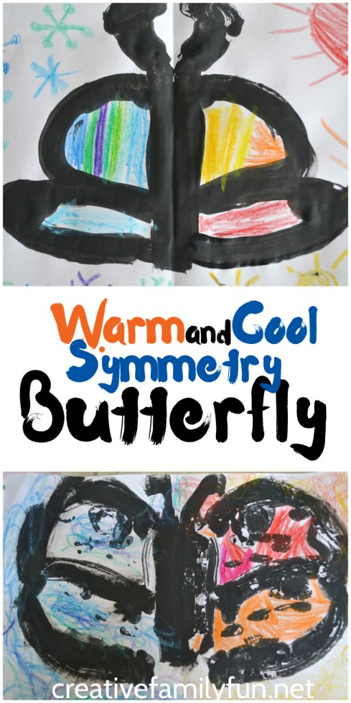 Explore the concepts of symmetry and warm and cool colors with this simple and fun art project for kids. This Butterfly Symmetry Art is so much fun to make and results in a beautiful picture.