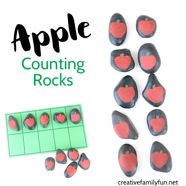 Make a set of apple counting rocks for some fun math activities. You can use them to count, to add, to subtract, or with a ten frame.