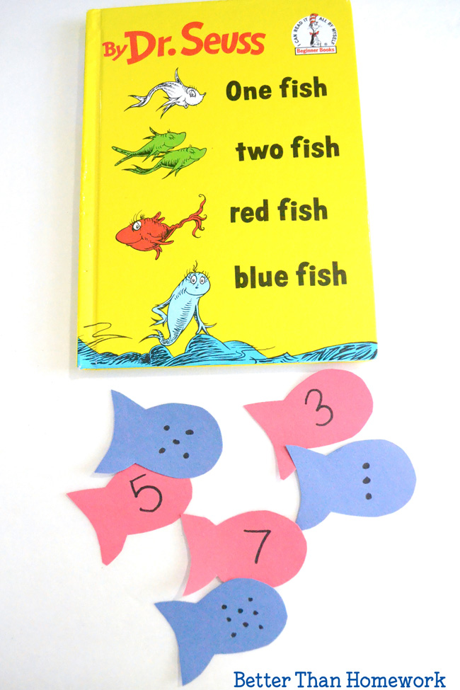 This One Fish Two Fish number match activity is a fun way to practice numbers and counting. It's a fun math game for preschool and kindergarten.
